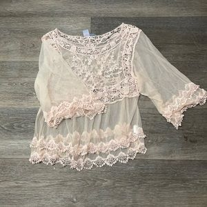 PINK MELO LACE TOP